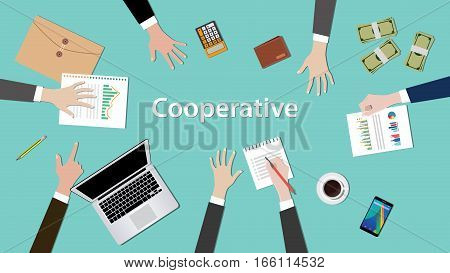 cooperative concept discussion illustration with paperworks, money, notebook on top of table vector