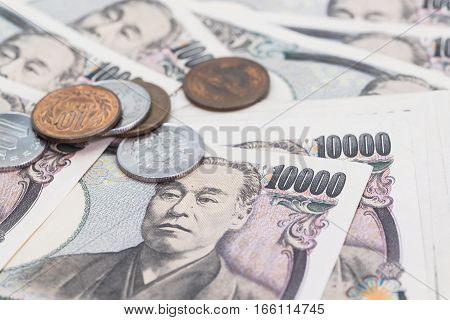 Japanese yen Stack of Japanese currency yen bank notes