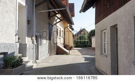 Empty urban street in the european town.