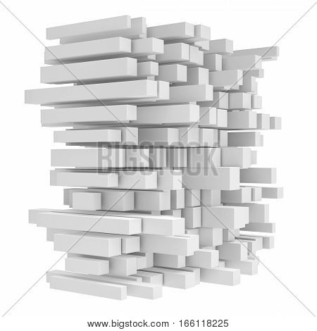 3d rendering of high tech construction made of cubes on white background. Cubes block. Assembling concept. 3D render icon