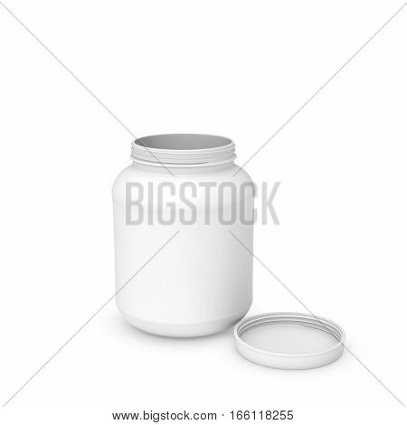 3d rendering of white blank round can isolated on the white background. Kitchen things. Storage equipment. Unknown content.