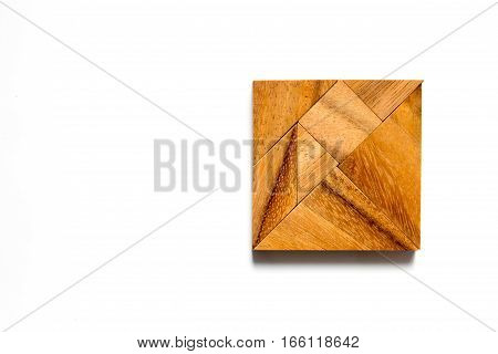 Chinese tangram puzzle in square shape on white background