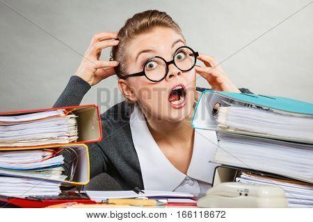 Panicked Secretary At Desk.