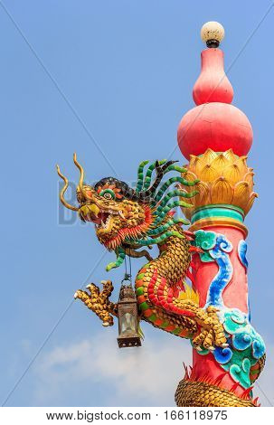 Beautiful dragon statue on the pole.  close up