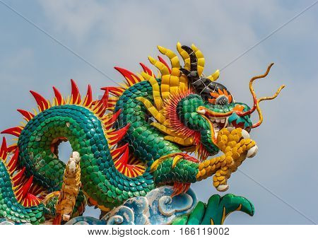 Beautiful dragon statue the Chinese style. close up