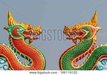 The Beautiful dragon statue thai style. close up