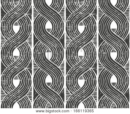 Seamless abstract pattern with grunge texture. Hand drawn background. EPS10 vector illustration in linocut style.