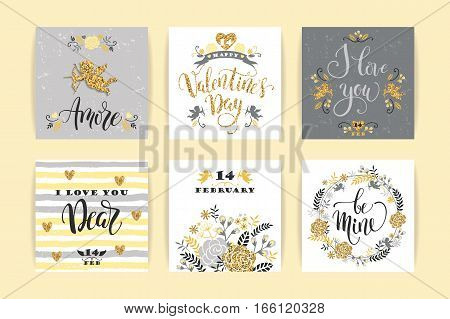 Set of Happy Valentines Day cards. Hand drawn lettering design. Vector illustration