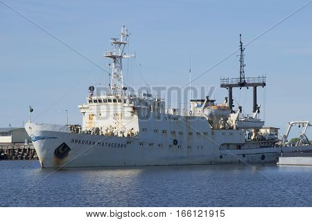 KRONSTADT, RUSSIA - MAY 30, 2015: Hydrographic survey ship of the Navy of Russia