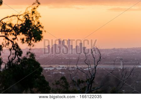 Perth City in the distance as seen from the Perth hills near Kalamunda - Zig Zag. Western Australia, Australia.
