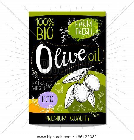 Colorful sticker in sketch style, food and spices, black background. Olive oil. Extra virgin, farm fresh, eco, bio, premium quality. Hand drawn vector illustration.