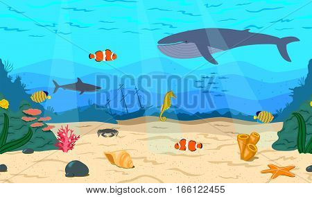 The bottom of the sea. The ocean and marine life. Coral reef, sand, and a sunken ship. Whale, shark, clown fish, sea horse and Royal angelfish. Underwater world.