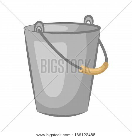 Tin pail. Bucket for the garden isolated on white background. Cartoon icon. Vector illustration.