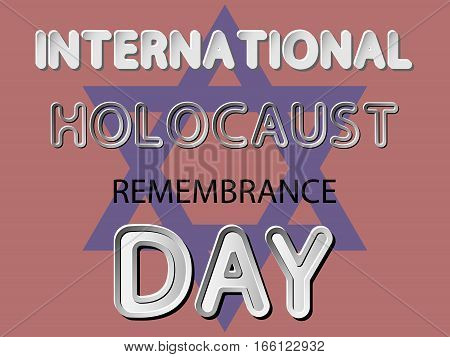 different vector lettering word of international holocaust remembrance day with white gray gradient and black shadows as paper or metallic effect on red retro colors background with david's star