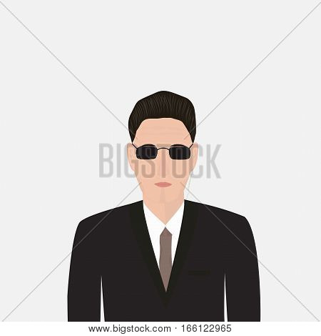 Bodyguard in a black suit with glasses on a light background, the security service