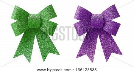 Green and purple bow isolated on white background