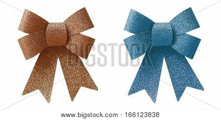 Copper and blue bow isolated on white background