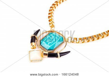 Stylish necklace with colorful stones isolated on white background.