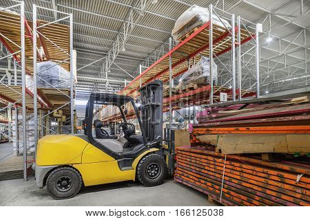 Warehouse industrial and logistics companies. Electric forklift.