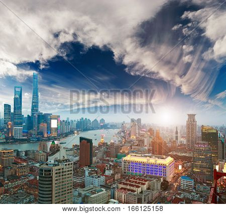 Aerial Photography At Shanghai Bund Skyline Of Sunset