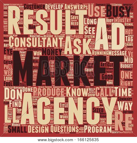 How To Identify Good Ad Agencies text background wordcloud concept