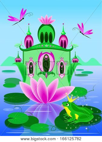 Cartoon illustration with beautiful house on the water and a frog princess