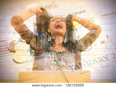 Double Exposure Stressed businesswoman shouting loudly at work