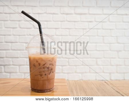 Iced coffee or caffe latte in takeaway cup