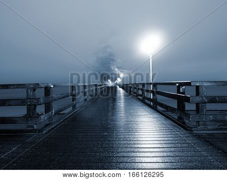 Man Walk In Autumn Mist On Wooden Pier Above Sea. Depression, Dark  Atmosphere.