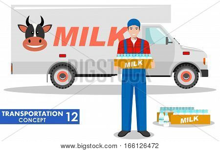 Detailed illustration of driver, farmer and milk truck on white background in flat style.