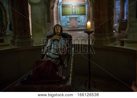 Jerusalem Israel - January 18 2017 : Abbey of the Dormition in Jerusalem . View of the basilica and the central altar of the church.