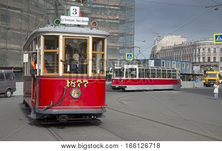 SAINT PETERSBURG, RUSSIA - MAY 24, 2015: Old trams arrive at the venue of the parade of vintage vehicles
