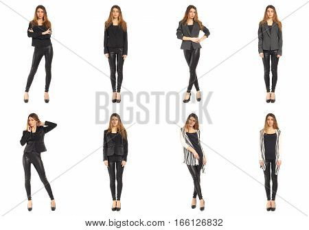 Young girl in leggings concept isolated on white