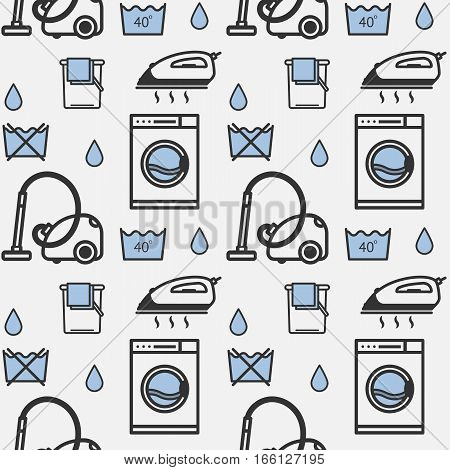 Vector seamless pattern laundry in a linear style.