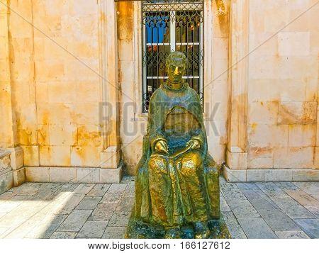 A view of a statue in bronze, Dubrovnik in Croatia