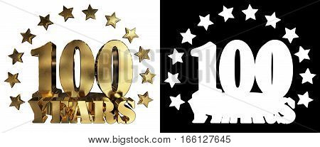 Golden digit one hundred and the word of the year decorated with stars. 3D illustration