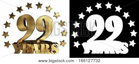 Golden digit ninety nine and the word of the year decorated with stars. 3D illustration