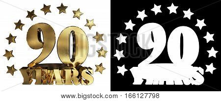 Golden digit ninety and the word of the year decorated with stars. 3D illustration