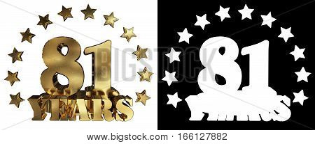Golden digit eighty one and the word of the year decorated with stars. 3D illustration