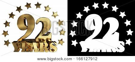 Golden digit ninety two and the word of the year decorated with stars. 3D illustration