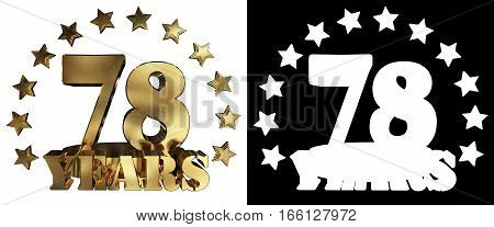Golden digit seventy eight and the word of the year decorated with stars. 3D illustration