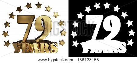 Golden digit seventy nine and the word of the year decorated with stars. 3D illustration