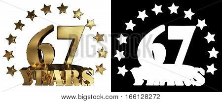 Golden digit sixty seven and the word of the year decorated with stars. 3D illustration