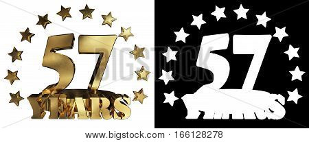 Golden digit fifty seven and the word of the year decorated with stars. 3D illustration