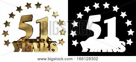 Golden digit fifty one and the word of the year decorated with stars. 3D illustration
