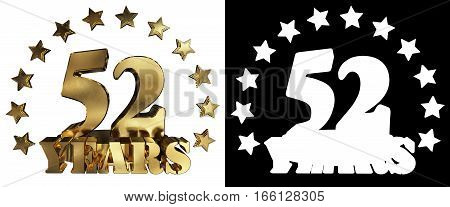 Golden digit fifty two and the word of the year decorated with stars. 3D illustration