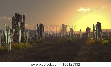 3d illustration american desert landscape with sunrise and rocks cactus trees and long shadows.