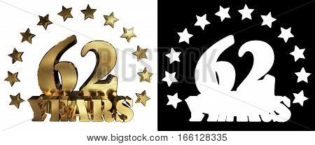 Golden digit sixty two and the word of the year decorated with stars. 3D illustration