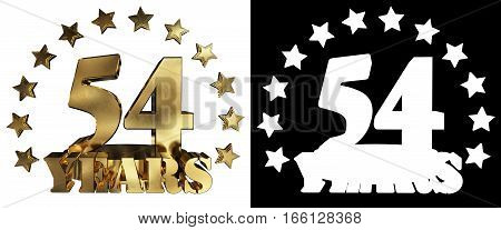 Golden digit fifty four and the word of the year decorated with stars. 3D illustration