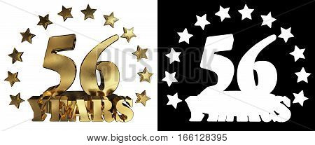 Golden digit fifty six and the word of the year decorated with stars. 3D illustration